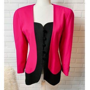 Vintage Renlyn 100% Wool Hot Pink & Black Blazer